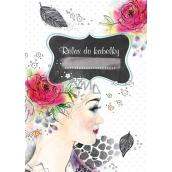 Ditipo Relax do kabelky Dívka s růží ve vlasech kreativní zápisník 16 listů, formát A6 15 x 10,5 cm