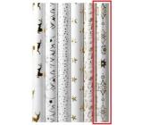 Zöllner Vánoční Luxusní balicí papír s ražbou White bílý - zlaté vločky 1,5 m x 70 cm