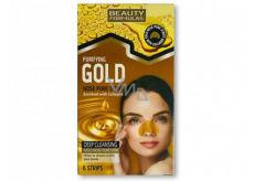 Beauty Formulas Gold zlaté čisticí pásky na nos s kolagenem a lískovým oříškem 6 kusů