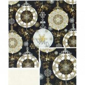 Nekupto Dárkový balicí papír 70 x 500 cm Vánoční Černý - zlaté, stříbrné ozdoby