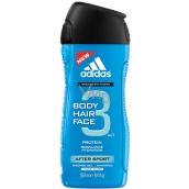 Adidas After Sport 3v1 Body Hair Face sprchový gel na tělo, vlasy a tvář pro muže 250 ml