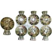Svícínek na vánoční stromeček plechový stříbrný 6 kusů, Žabky na svíčky na vánoční stromeček plechové zlaté