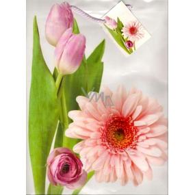 Nekupto Dárková papírová taška velká 32,5 x 26 x 13 cm Tulipány a gerbera 1 kus 834 02 BL