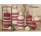 Lima Fresh Line Emotion vonná svíčka růžová - bílé pruhy válec 60 x 120 mm 1 kus