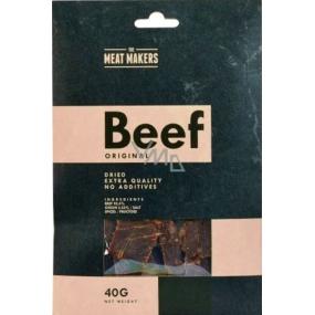 Meat Makers Beef Jerky Original jemně okořeněné tenké plátky z hovězí kýty konzervované sušením 40 g