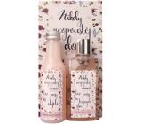 Bohemia Gifts & Cosmetics Růže a šípek sprchový gel 200 ml + koupelová lázeň 200 ml + dekorační obraz Nikdy neopouštěj domov bez pusy... 13 x 24 cm, kosmetická sada