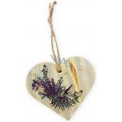 Bohemia Gifts & Cosmetics Dřevěné dekorační srdce s potiskem Levandule 8 cm