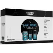Str8 Live True voda po holení pro muže 50 ml + deodorant sprej 150 ml + sprchový gel 250 ml, kosmetická sada