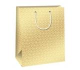 Ditipo Dárková papírová taška zlatá, bílé ornamenty 26,4 x 13,6 x 32,7 cm