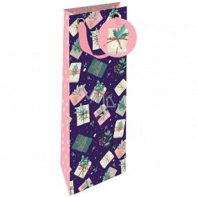 Nekupto Dárková papírová taška na láhev luxusní 13 x 33 cm Vánoční dárky WILH 1982