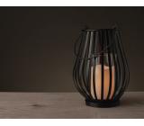Lampa kovová se svíčkou LED teplá bílá + časovač 25 x 18 cm