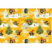 Nekupto Dárkový balicí papír 70 x 200 cm Vánoční Krteček žlutý 1 role