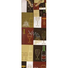 Nekupto Dárková papírová taška na láhev 33 x 11 x 9 cm Vinařské motivy 1030 01 ALH
