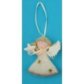 Anděl plyšový stříbrný hvězda na zavěšení 10 cm