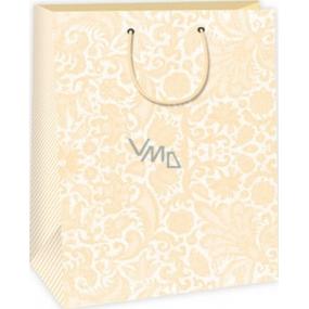 Ditipo Dárková papírová taška 32,4 x 10,2 x 44,5 cm bílo béžová krajkový vzor