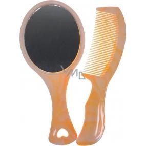 Zrcátko do ruky 18 x 8 cm + hřeben oranžové 60220