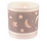 Svícen keramický šedobílý hvězdná obloha 7,9 cm