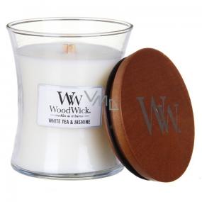 WoodWick White Tea & Jasmine - Bílý čaj a Jasmín vonná svíčka s dřevěným knotem a víčkem sklo malá 85 g
