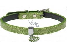 Tatrapet Obojek Lurex zelený zdobený - srdíčko 1,5 x 37 cm