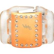 Linziclip Midi Vlasový skřipec perleťově broskvový s krystalky 3,5 cm vhodný pro středně husté a husté vlasy 1 kus