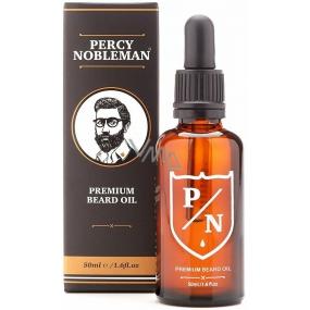 Percy Nobleman Premium Beard Oil Prémiový olej na vousy pro muže, s dřevitou vůní s jemným tónem sladké vanilky 50 ml