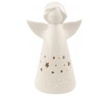 Anděl porcelánový s LED osvětlením bílý s hvězdičkami 16 cm na postavení