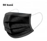 Shield Rouška 3 vrstvá ochranná zdravotní netkaná jednorázová, nízký dýchací odpor 50 kusů černé