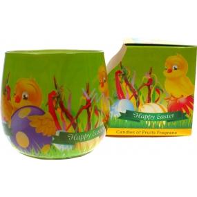 Santo Candles Happy Easter Kuřátka světle zelený obal vonná svíčka ve skle100 g