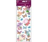 Samolepky motýlci a květiny s glitry fialoví 34,5 x 12,5 cm