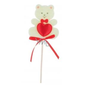 Medvídek z filcu se srdíčkem béžový zápich 6,5 cm + špejle