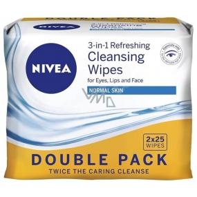 Nivea 3v1 Osvěžující pleťové ubrousky normální a suchá pleť Duo 2 x 25 kusů