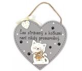 Nekupto Mazlíčci Dřevěná cedulka Čas strávený s kočkami není nikdy promarněný 17 x 17 cm