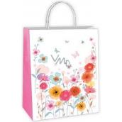 Ditipo Dárková papírová taška bílá, květy, motýlci 18 x 8 x 24 cm EKO 50