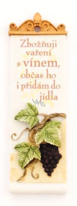 Albi Romantic garden Rectangular plaque 12 I adore cooking with wine 4 x 12 x 2 cm