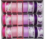 Ditipo Stuha vázací saténová růžová světlá, puntík 3 m x 25 mm