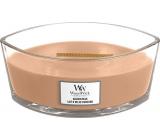 WoodWick Golden Milk - Zlaté mléko vonná svíčka s dřevěným širokým knotem a víčkem loď 453 g