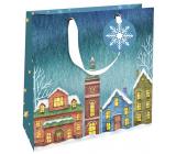 Nekupto Dárková papírová taška luxusní 23 x 23 cm Vánoční domečky WLIM 1976