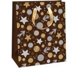 Ditipo Dárková papírová taška 26,4 x 13,6 x 32,7 cm Glitter Vánoční černá - stříbrné a zlaté kolečka a hvězdičky
