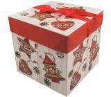 Dárková krabička skládací s mašlí Vánoční s červenými ozdobami 21,5 x 21,5 x 21,5 cm