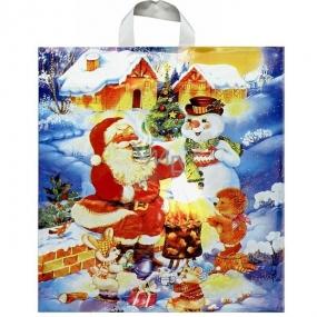 Press Igelitová taška s uchem Santa se sněhulákem 50 x 44 cm