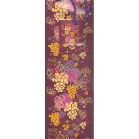 Nekupto Dárková papírová taška na láhev 1037 30 ALH vínově červená s hroznem 33 x 11 x 9 cm
