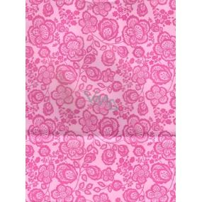 Nekupto Dárková kraftová taška střední 24 x 18 x 8 cm Růžová s květy, 081 KKM