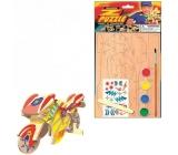 Dřevěné puzzle dopravní prostředky Motorka 20 x 15 cm