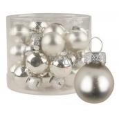 Baňky skleněné stříbrné sada 2 cm, 12 kusů