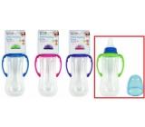 First Steps Feeding Bottle kojenecká lahev 0+ čirá s úchopy zelené barvy 250 ml