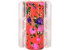 Linziclip Maxi Vlasový skřipec perleťově oranžový s květinami 8 cm vhodný pro hustší vlasy 1 kus