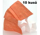 Rouška 3 vrstvá ochranná zdravotní netkaná jednorázová, nízký dýchací odpor 10 kusů oranžová se širokými gumičkami