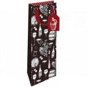 Nekupto Dárková papírová taška na láhev 12,5 x 32,5 x 8 cm Zátiší vinaře 1865 LILH