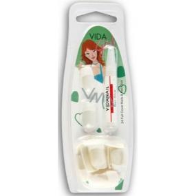 Diva & Nice Vida Girl umělé nehty bílé francouzská manikúra 24 kusů + lepidlo 1 kus