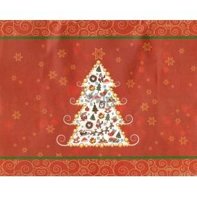 Nekupto Dárková kraftová taška střední 228 WCM červená Vánoční stromeček 23 x 18 x 10 cm